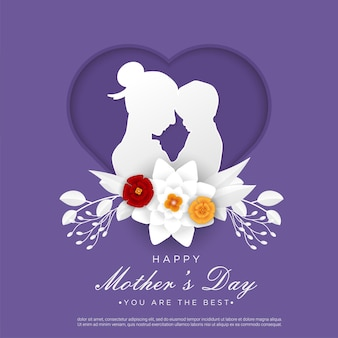 Happy mother's day with mom and child papercut