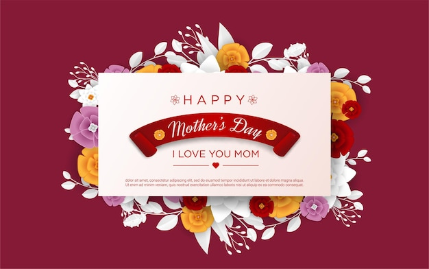 Happy mother's day with realistic floral Premium Vector