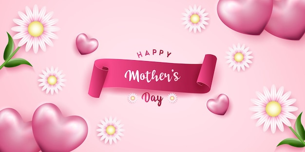 Happy mother's day with realistic hearth shapes, flowers and ribbon