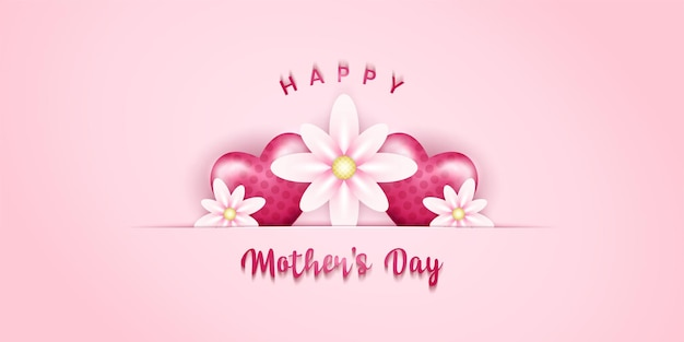 Happy mother's day with realistic hearth shapes and flowers