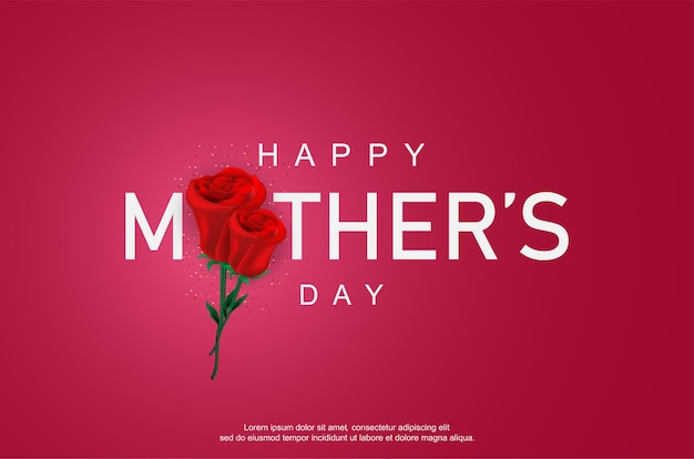 Happy mother's day with realistic rose