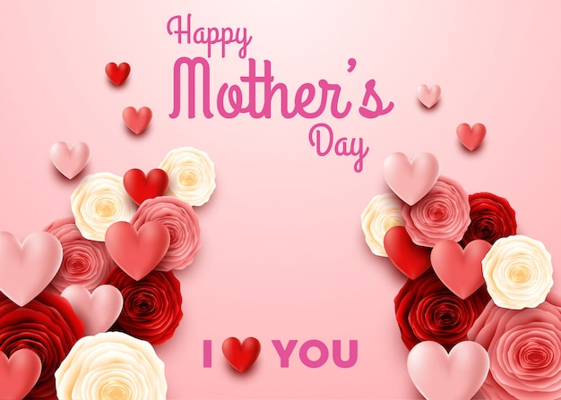 Happy mother's day with rose on pink background