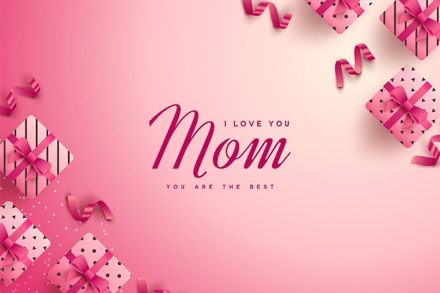 Happy mother's day with various pink gift boxes.