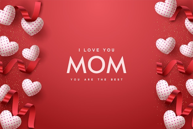 Happy mother's day with white balloon love and red ribbon.
