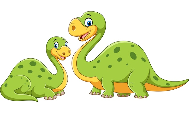 Happy mother with baby dinosaur posing