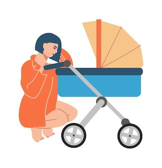 乳母車で幸せな母。ママは新生児と一緒にベビーカーにしゃがみ込んだ。白い背景の上の女性の笑顔のベクトルイラストキャラクター
