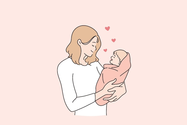 행복한 어머니와 어린 시절 개념