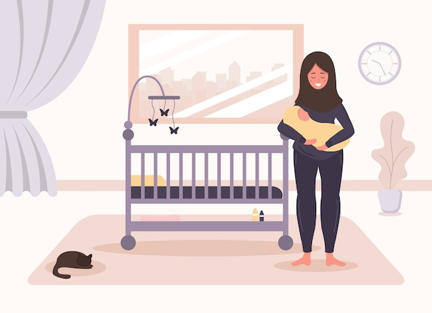 Happy motherhood. arab woman stands at the crib and holding the baby in her arms. baby cradle. creative design for ui, ux, apps, software and infographics. illustration in flat style.