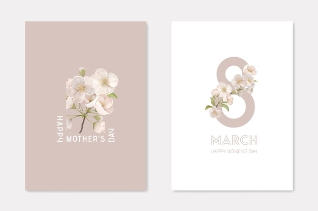 Happy mothers day and 8 march stylish cards template set. decorative composition with cherry flowers on white and beige background holiday poster banner flyer brochure cartoon flat vector illustration