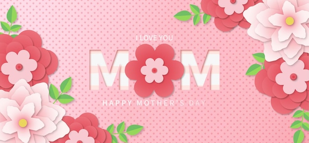 Happy mothers day background with realistic papercut flowers