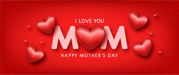 Happy mothers day background with realistic red hearts