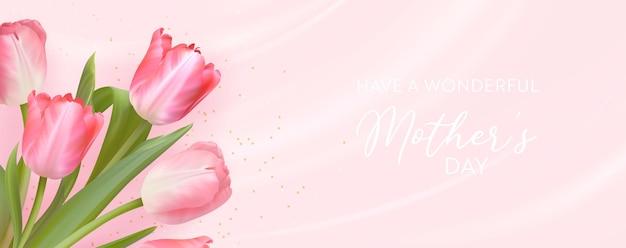 해피 어머니의 날 배너 현실적인 튤립 꽃 디자인