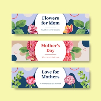 Happy mothers day banner templates set