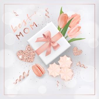花と幸せな母の日バナー。ゴールデングリッター要素、グリーティングカードのギフトボックス、チラシ、ポスター販売テンプレートを使用した母の日のデザイン。ベクトルイラスト