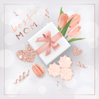 Happy mothers day banner with flowers. mother day design with golden glitter elements, gift box for greeting card, flyer, poster sale template. vector illustration