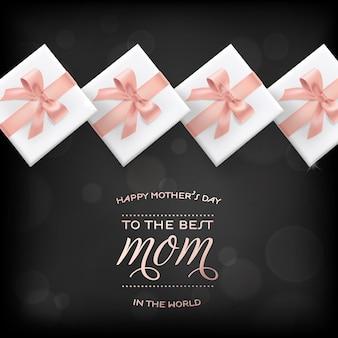 ギフトボックス付きの幸せな母の日バナー。書道のテキストと広告、春のセール、ポスター、チラシ、パンフレットのプレゼントが付いた母の日グリーティングカード。ベクトルイラスト