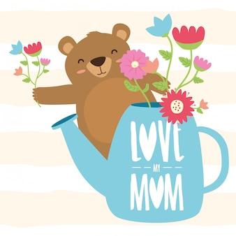 Happy mothers day bear mom illustration
