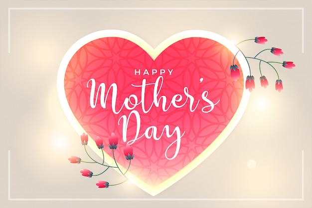 Happy mothers day beautiful hearts and flower background