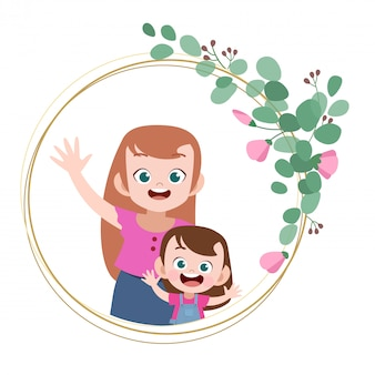 Happy mothers day card greeting vector illustration