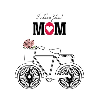 Happy mothers day card with bicycle icon