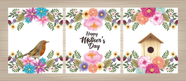 Happy mothers day card with bird and housebird floral frame