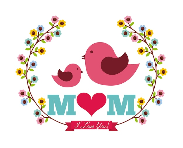 Happy mothers day card with birds and flowers