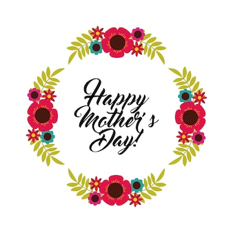Happy mothers day card with decorative wreath of flowers