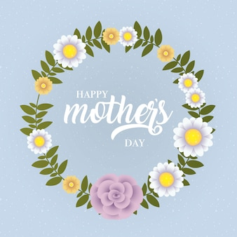 Happy mothers day card with floral circular frame