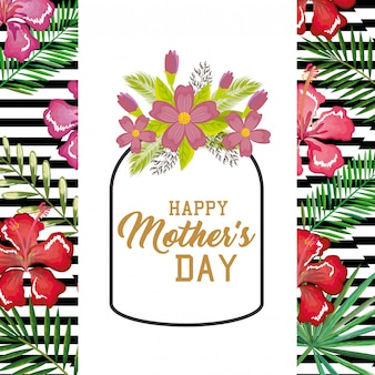 Happy mothers day card with floral decoration