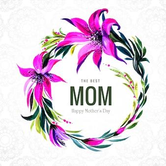 꽃 원형 프레임 해피 어머니의 날 카드