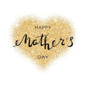 Happy mothers day card with gold glitter heart