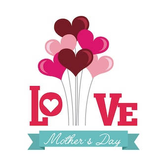 Happy mothers day card with heart balloons