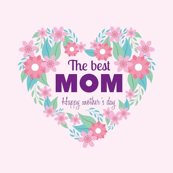 Happy mothers day card with heart and flowers ornaments