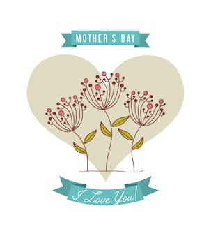 Happy mothers day card with heart and flowers