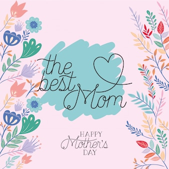 Happy mothers day card with herbs frame