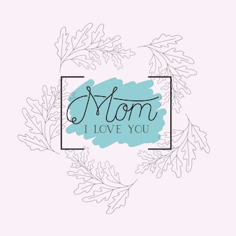 Happy mothers day card with herbs square frame