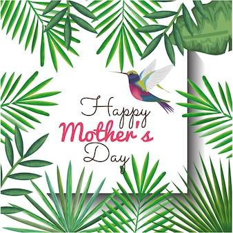 벌 새와 꽃 장식 해피 어머니의 날 카드