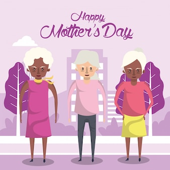 Happy mothers day card with interracial grandmothers characters