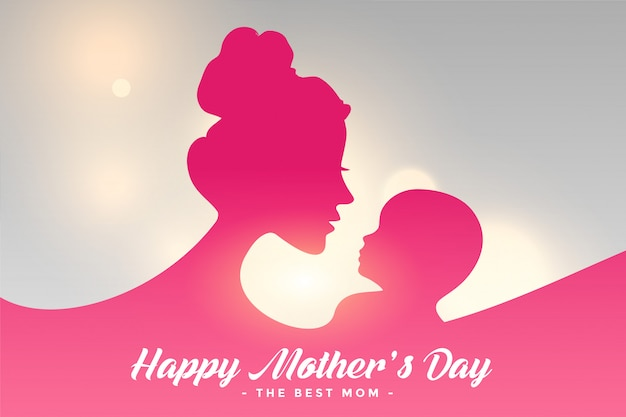 Happy mothers day card with mom and child relation background