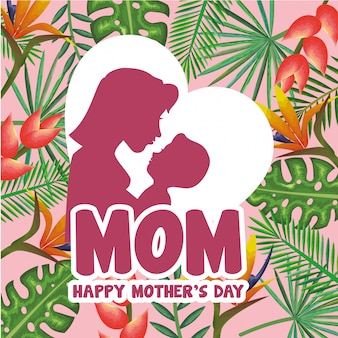 Happy mothers day card with mom and son silhouette