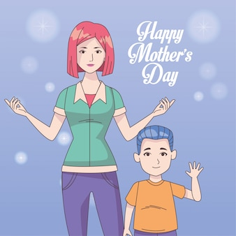 Happy mothers day card with mom and son