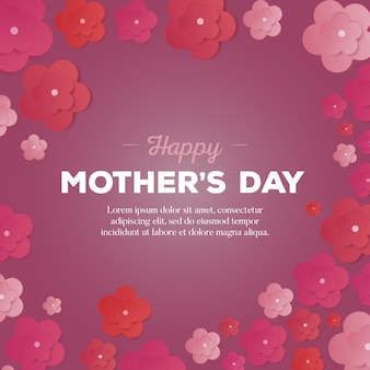 Happy mothers day card with paper flowers