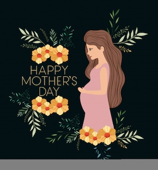 Happy mothers day card with pregnancy mom.