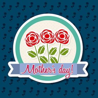Счастливая мать день карты с розами векторная иллюстрация