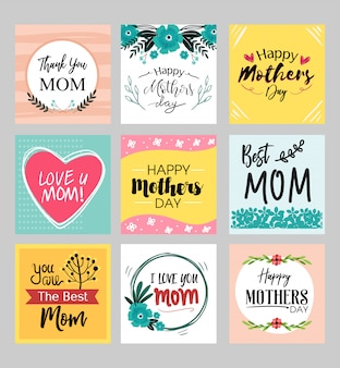 Happy mothers day cards set with cute flower detail and pastel color