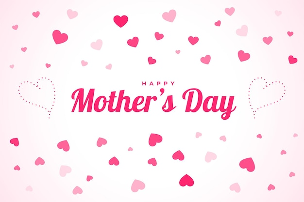 Happy mothers day celebration background with floating hearts