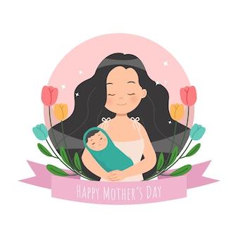 幸せな母の日のお祝い。赤ちゃんを抱いているお母さん