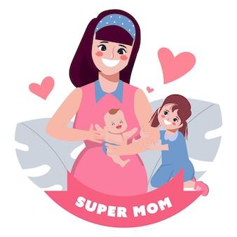해피 어머니의 날 캐릭터 손으로 그린 만화 어머니 먹이 아기 포즈 세트
