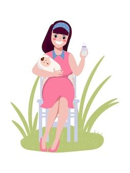 幸せな母の日キャラクター手描き漫画母の授乳赤ちゃんポーズセット