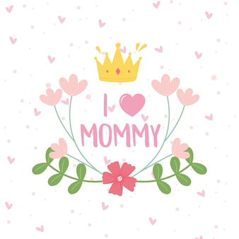 Happy mothers day, crown flowers branches dots decoration card  illustration